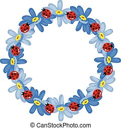 Empty round frame with blue flowers and ladybirds