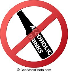 empty round no drinking red ban sign