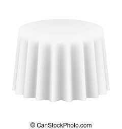 Empty Round Table Cloth. Isolated. Vector Illustration