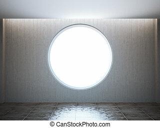 Empty round window in the loft interior.