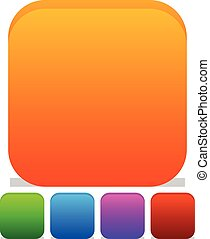 Empty rounded icon, button backgrounds with different level of roundness. Orange, green, blue, purple and red colors.