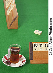 rummy table - empty rummy table over green background
