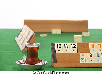 empty rummy table over green background