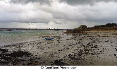 empty sandy beaches of Brittany during low tide