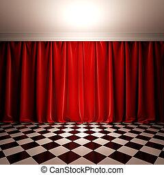 Empty scene with red velvet curtain.