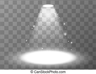 Bright empty scene with spotlight on transparent background
