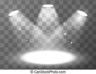 Empty scene with three spotlights on transparent background...
