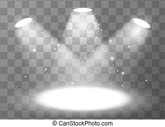 Empty scene with three spotlights on transparent background