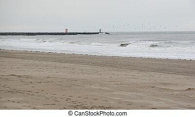 empty Scheveningen beach in winter, The Hague, Netherlands