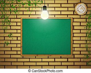 school blackboard - Empty school blackboard at brick wall...