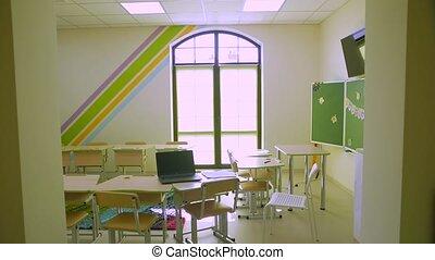 Empty school class in quarantine backward push out camera movement