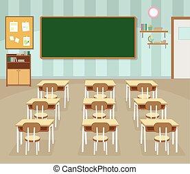 Empty school classroom with green chalkboard