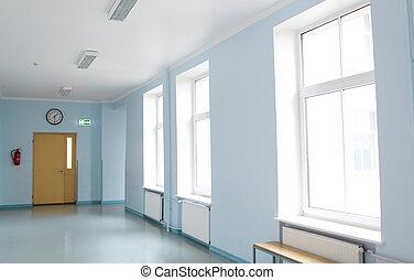 empty school corridor