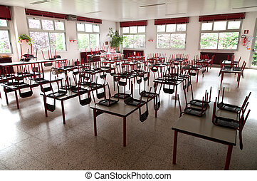 Empty school dining hall - Pre-school refectory with tables...