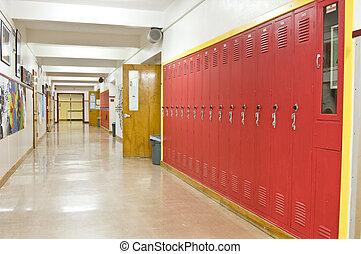Empty School Hallway - An empty highschool hallway with red...