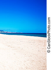 Empty sea and summer beach background with copy space -  tropical  vacation and travel concept