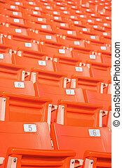 Empty seats at stadium.