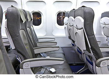 empty seats in the aircraft  early morning