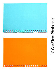 empty sheet of orange and blue paper isolated on white
