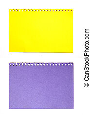 empty sheet of yellow and purple paper isolated on white