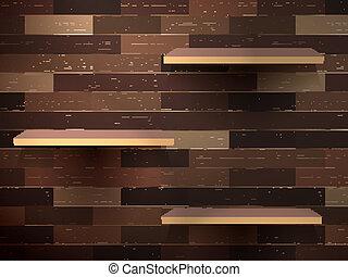 Empty shelf for exhibit on wood background. EPS 10
