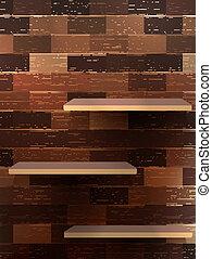Empty shelf for exhibit on wood background. EPS 10 vector