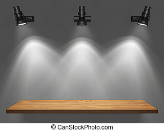 Empty shelf illuminated by spotlights illustration
