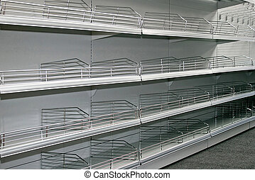 Empty shelf - Landscape shot of empty super market shelf