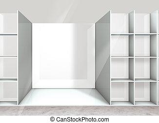 shelf - empty shelf on the department store