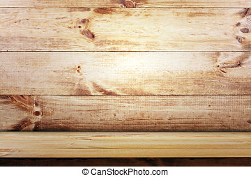 empty shelf on wooden wall background. wood texture