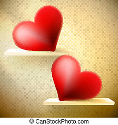Empty shelf with red hearts. EPS 10
