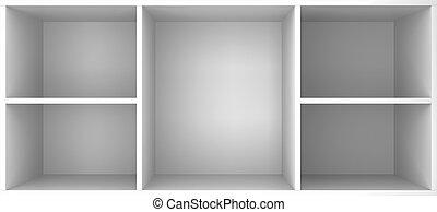 Empty shelves. 3d illustration on white background
