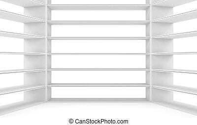 Empty shelves, blank bookcase library