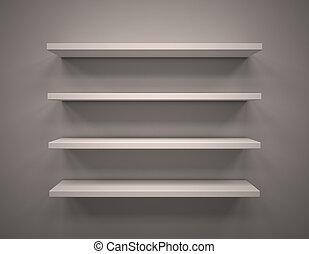 Empty shelves - 3d illustration of  Empty shelves