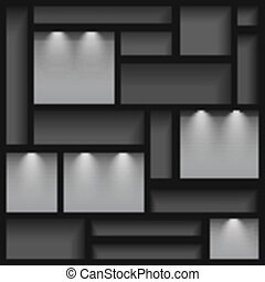 Empty shelves illuminated with reflector ligh, gray colored, vector illustration, 10eps