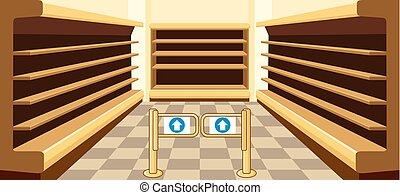 Empty shelves of a supermarket