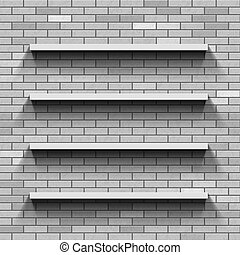Empty shelves on a brick wall. Template background.