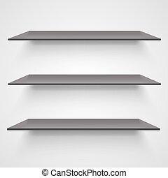 Empty shelves on light grey background.
