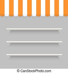 Empty shelves on light grey wall. Vector Image.