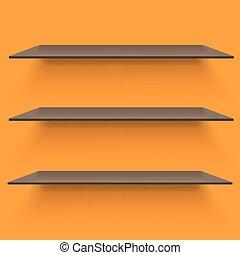 Empty shelves on light orange background.