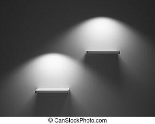 Empty shelves - Illuminated empty shelves