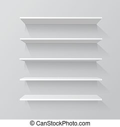 Empty shelves Vector illustration.