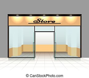 Empty shop front or store front vector illustration