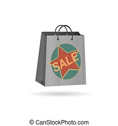 empty shopping bag gray with a star on white background