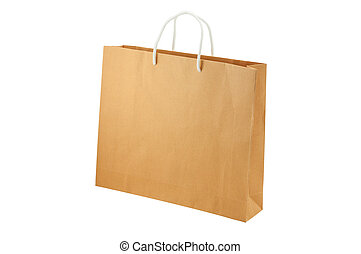 Empty shopping bag isolated on white background, clipping paths included.