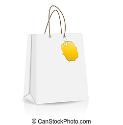 Empty Shopping Bag with label  for advertising and branding vector illustration