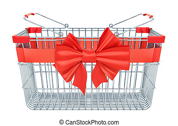 Empty shopping basket with red bow and ribbon. 3D rendering...