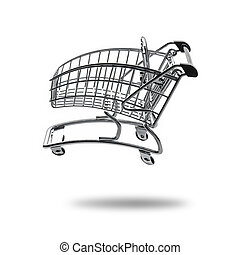 Empty shopping cart at full speed