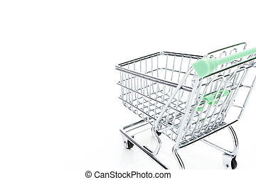 Empty shopping cart, on white background with copy-space