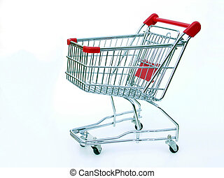 Empty shopping cart - Miniature shopping cart isolated on...